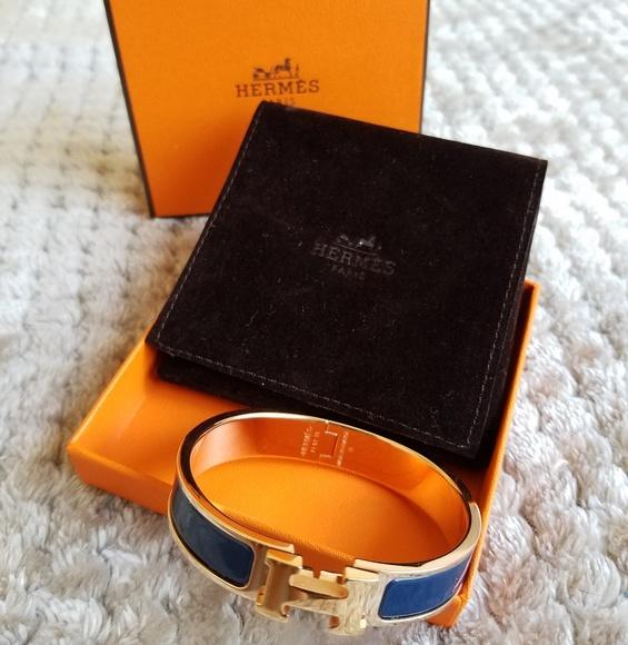 Hermes Jewelry   Blue Rose Gold Clic H Bracelet   Poshmark 9915936c489